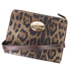 Roberto Cavalli Brown Leopard Print Leather Ipad Case Shoulder Strap