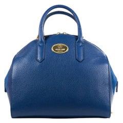 Roberto Cavalli Womens Blue Grained Leather Bowler Handbag