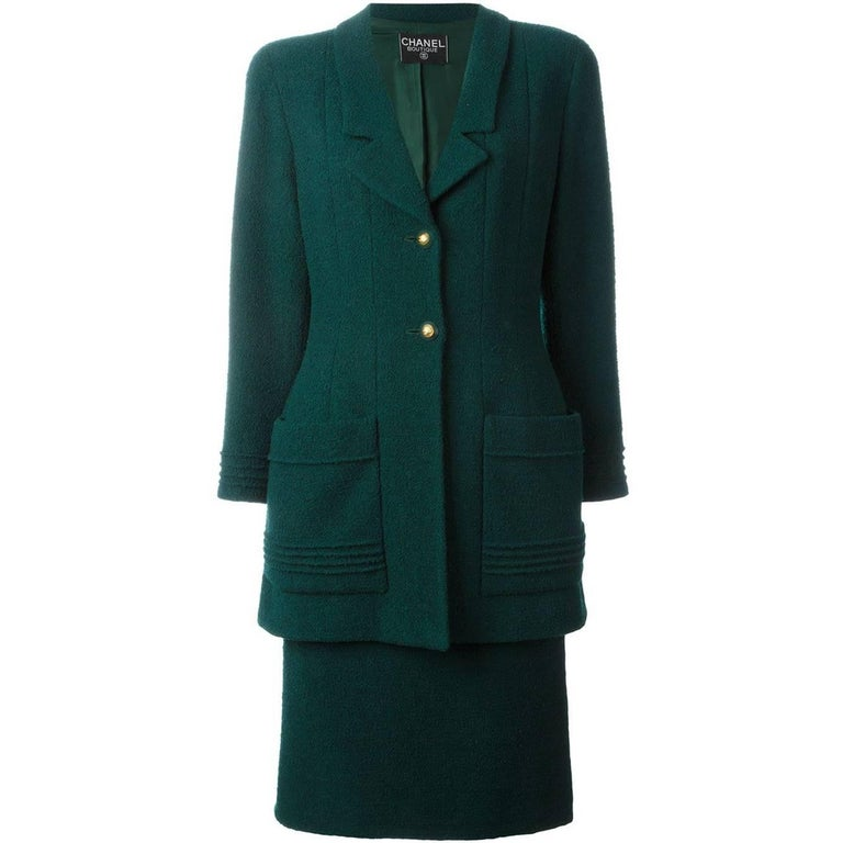 Chanel Dark Green Wool Vintage Jacket, 1980s