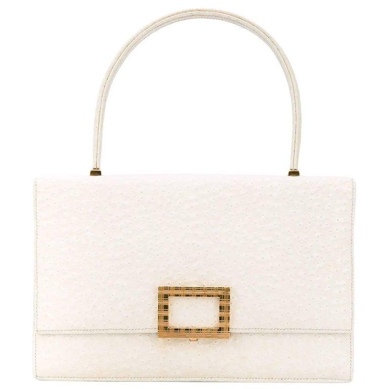 Hermès White Beluga Vintage Leather Bag, 1960s