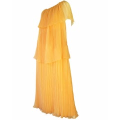 Marita by Anthony Muto Pleated Tiered Gown, 1970s