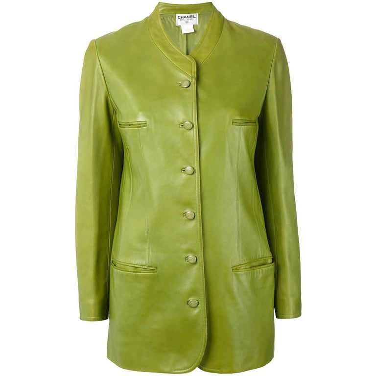 Chanel Green Leather Vintage Jacket, 1990s