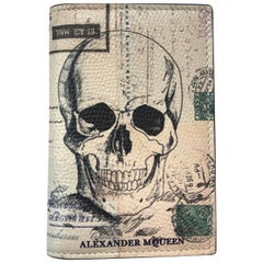 Alexander McQueen White Letters From India Bifold Skull Wallet