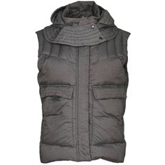 Helmut Lang Grey Nylon Plex Hooded Puffer Vest sz S rt. $400
