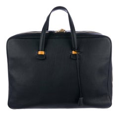 Hermes Leather Men's Women's Weekender Travel Duffle Handle Carryall Tote Bag