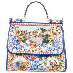 Dolce & Gabbana Runway Printed Kelly Style Top Handle Satchel Shoulder Bag