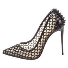 Christian Louboutin Black Patent Spike Evening High Heeled Pumps
