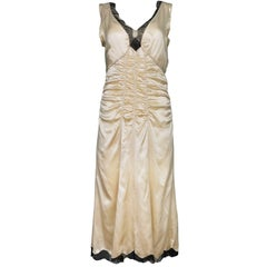 Prada Champagne Silk Ruched Slip Dress sz IT42