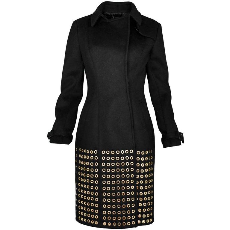 Burberry Prorsum Runway Black Cashmere Eyelet Studded Coat sz IT40 F/W 2013