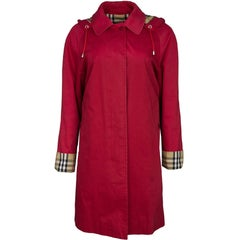Burberry London Red Cotton Hooded Trench Coat sz S/M