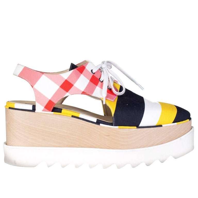 Stella McCartney Platform Canvas Sneakers with Cut-Outs