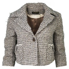Ports Grey & Beige Tweed Cropped Jacket sz S