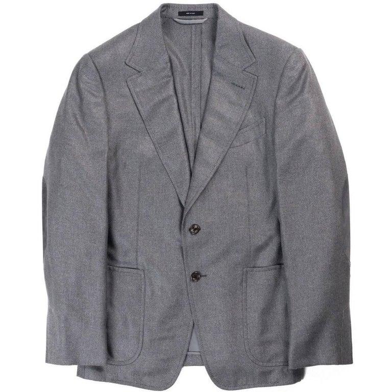 Tom Ford Mens Grey Silk Blend Cashmere Sport Jacket