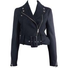 Givenchy Black Wool Blend Belted Waist Cropped Biker Jacket