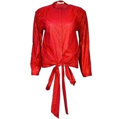 Giorgio Armani Vintage Red & Gold Stripe Wrap Blouse sz IT38