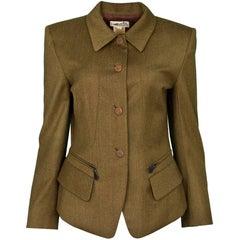 Hermes Vintage Olive Green Wool Riding Jacket sz FR40