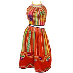 Vintage Ethnic Multicolored Woven Skirt and Halter Top 0