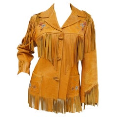 Tan Leather Jacket with Fringe and Beading Detail, Early 1960s