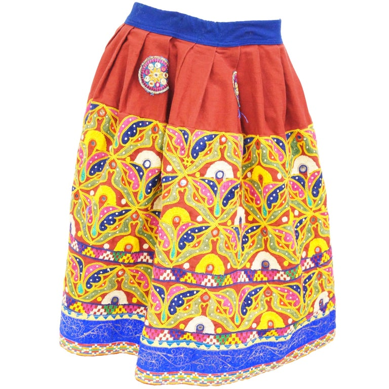 1970's Embroidered Indian Skirt with Mirror Sequin Details