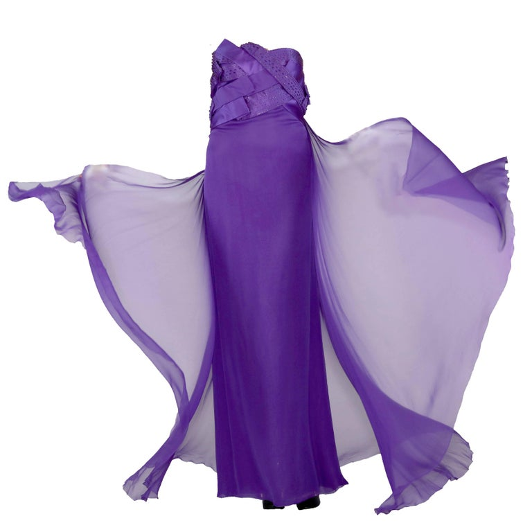 New VERSACE EMBELLISHED PURPLE SILK LONG DRESS GOWN Size 44 For Sale