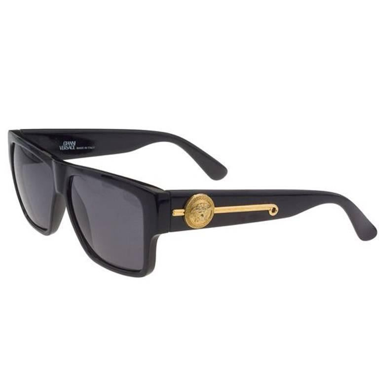 fd8465dbf89 Gianni Versace Vintage MOD 414 A Black Sunglasses at 1stdibs