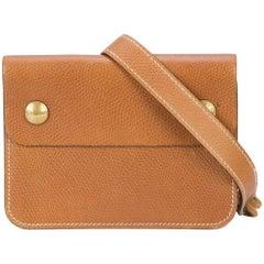 Hermes Cognac Brown Leather Gold Travel Carryall Bum Fanny Pack Waist Belt Bag