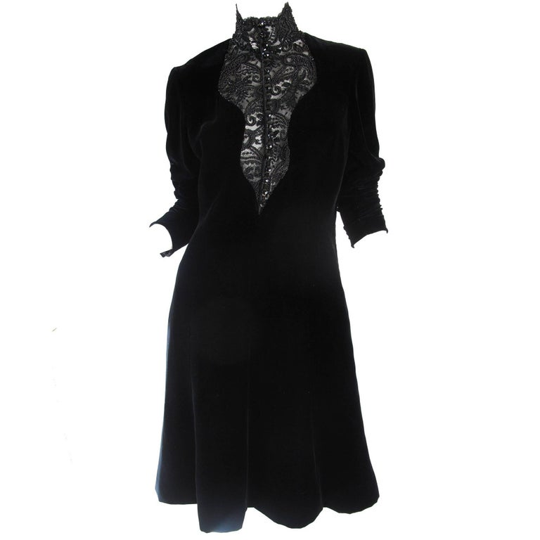 Ungaro Velvet Dress with Beading , 1990s