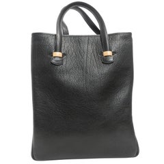 Hermes Black Calf Leather Tote Bag