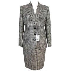 Valentino Pied De Poule Gray Wool Italian Skirt Suit, 1990s size 10