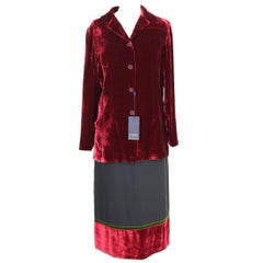 Burberry London skirt suit velvet red jacket size 42 it made italy 1990s NWT