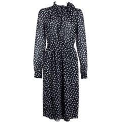 Dolce&Gabbana Women's Black Floral Print Crepe Georgette Dress