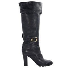 Black Chloe Leather Knee-High Boots