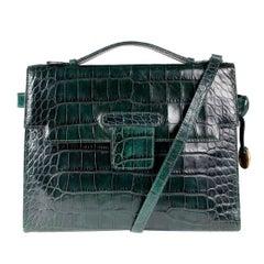 Sonya Rykiel Dark Greem Faux Croc Shoulder Bag with Matching Wallet