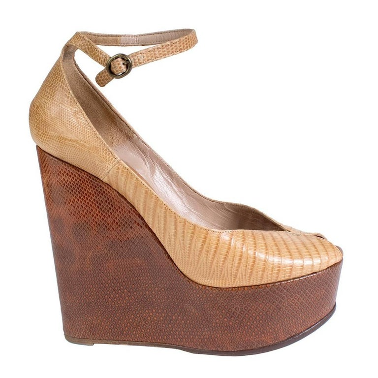Chloe Snakeskin Wedge with Peep Toe and Ankle Strap