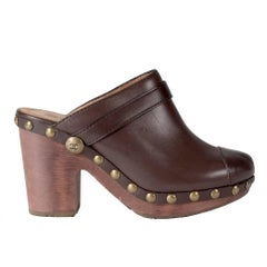 Chanel Leather and Wood Clogs with Antique Gold Studs