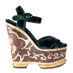 Dolce & Gabbana Velvet and Wood Inlay Wedges