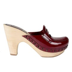 Miu Miu Lightweight Wood Clogs with Red Patent Leather