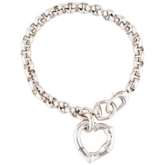 Gucci New Sterling Silver Chain Charm Bamboo Heart Bangle Bracelet in Box