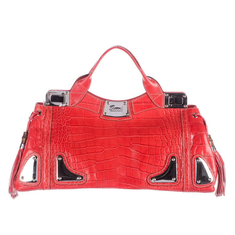Gucci Red Crocodile Exotic Skin Leather Evening Top Handle Satchel Bag in Box