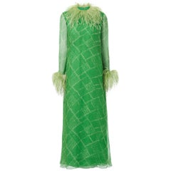 Nan Duskin unlabelled green printed chiffon maxi dress with ostrich feather embe