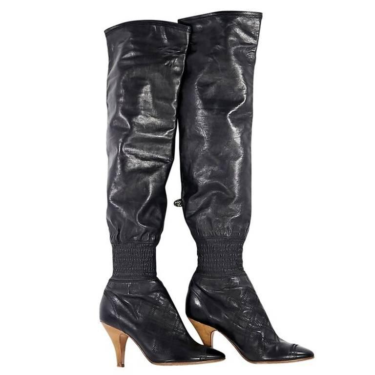 17d0a1895e5c Black Chanel Over-The-Knee Leather Boots at 1stdibs