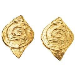 Yves Saint Laurent Vintage Goldtone Rive Gauche Spiral Clip-On Earrings