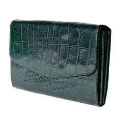 Sonya Rykiel Dark Green Faux Croc Wallett