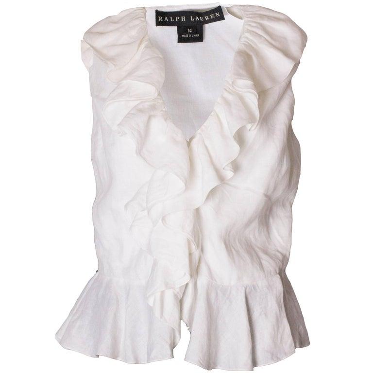 c3eae92fda6817 Ralph Lauren White Linen Blouse For Sale at 1stdibs