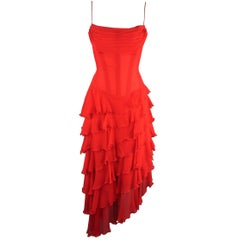 Vicky Tiel Couture Dress - Red Silk Chiffon Asymmetrical Ruffle Corset Cocktail