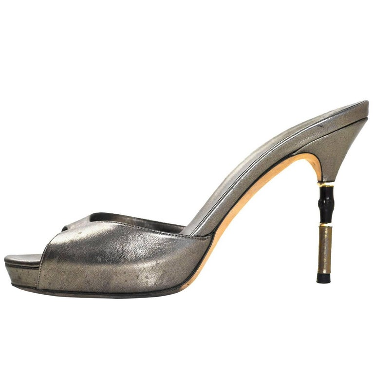 f8baa1b86 Gucci Pewter Leather Open-Toe Mules Sz 37 For Sale at 1stdibs