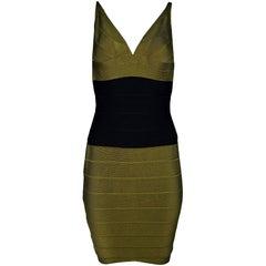 Herve Leger Olive Green & Black Bandage Dress Sz M