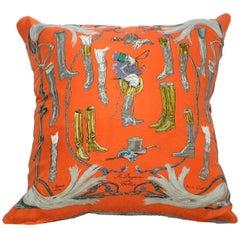 "New Hermes Silk And Linen Medium Pillow ""A Propos de Bottes"" iwj4483-1"