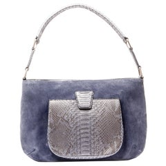 Leslie Bleu de Prusse Suede Bleu de Napelon Python Leather Shoulder Bag
