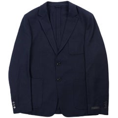 PRADA Mens Dark Blue Wool Twill Two-Button Sports Jacket
